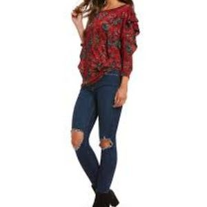 Free People Red Floral Dock Street Ruffle Top XS